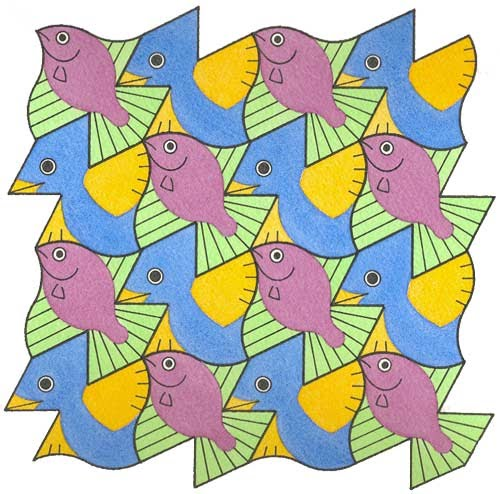 tessellation patterns essay More hints about how to make tessellations  a rotation is when you use the same basic shape all around your pattern, but in some places it's spun around a point .